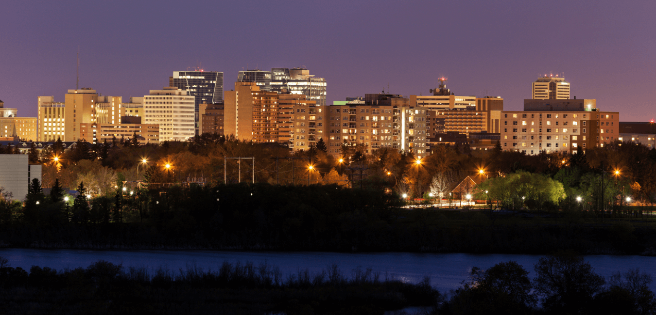 Skyline of Regina, Saskatchewan at night