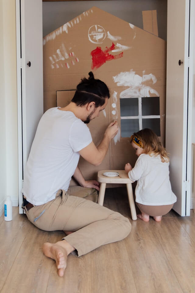 Father and daughter painting