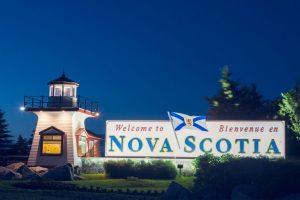 Nova Scotia sign at night