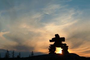 Nunavut FREE Inukshuk at dusk