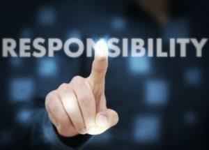 Businessman touching Responsibility